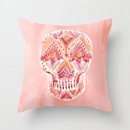 SO LIT SKULL Peach Tribal Watercolor Throw Pillow