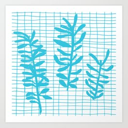 Grid Sprig - aqua blue Art Print