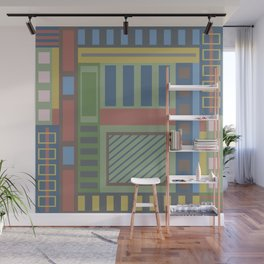 Geometric abstract in trendy colors Wall Mural