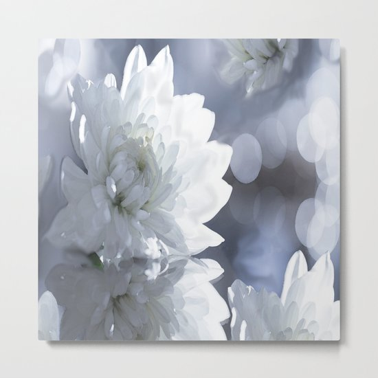 White flower with bokeh on a grey background included wonderful light Metal Print