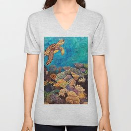 A Look around - Sea turtle in the reef Unisex V-Neck