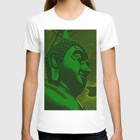buddah T-shirts featuring Buddah Head 02; Green  by Kether Carolus