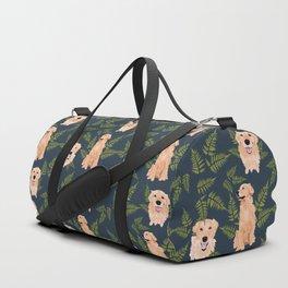 Golden Retriever Fern on Navy Duffle Bag