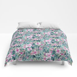LUSH OLEANDER Tropical Watercolor Floral Comforters
