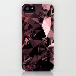 Lavender Red Brown Abstract Geometric Triangle Polygon Seedpod  Illustration iPhone Case