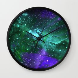 Aqua N Amethyst Space Flower Wall Clock