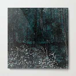 Dark Teal Van Gogh Trees & Underwood Metal Print