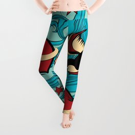 Cherry, Hearts, bird and stars on Rockabilly Tattoos Collection - Vintage blue Leggings
