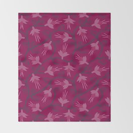 Pink Fuchsias in Bloom Throw Blanket