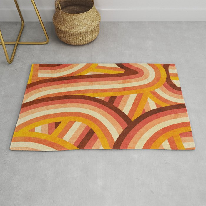 Vintage Orange 70's Style Rainbow Stripes Rug