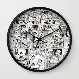 Ahegao Hentai Girls Collage B&W Comic Panels Wall Clock