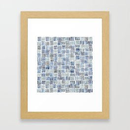 Indigo Crosshatch Pattern Framed Art Print