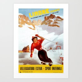 Limone Piemonte ski Italy Art Print