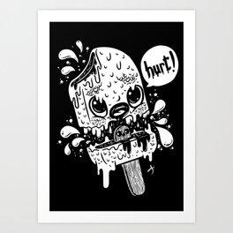 Ice cream hurt white Art Print