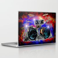 drums Laptop & iPad Skins featuring Psychedelic Drums by JT Digital Art