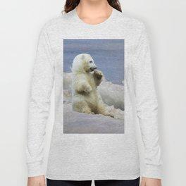 Cute Polar Bear Cub & Arctic Ice Long Sleeve T-shirt