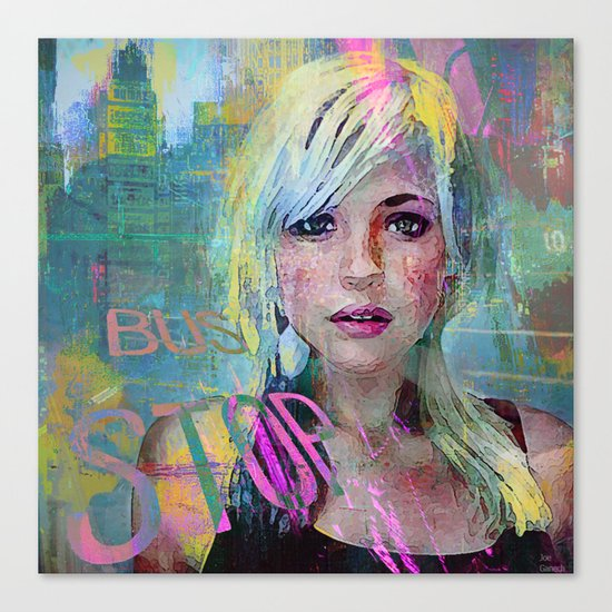 bus stop girl  Canvas Print