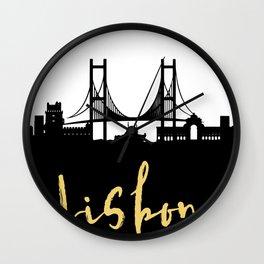 LISBON PORTUGAL DESIGNER SILHOUETTE SKYLINE ART Wall Clock