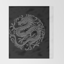 Traditional Gray and Black Chinese Dragon Circle Throw Blanket