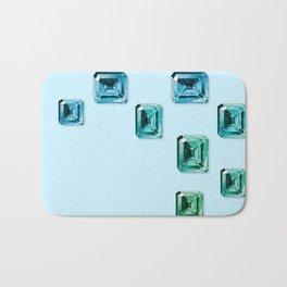 Emerald-cut Gemstones Pattern | Seafoam Bath Mat