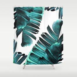 Banana Leaf - Tropical Leaf Print - Botanical Art - Modern Abstract - Blue, Navy, Teal Shower Curtain