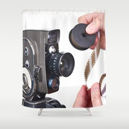 Retro mechanical hobbies movie camera and film in hands Shower Curtain