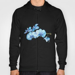 Blue Orchids Two - Watercolor Hoody