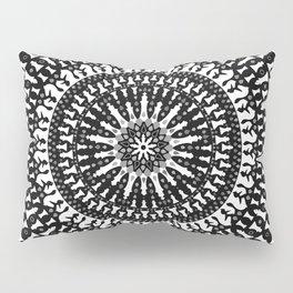 Chess Pieces Mandala - Grayscale Pillow Sham