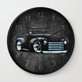 Classic Street Rod Pickup Truck Cartoon Wall Clock
