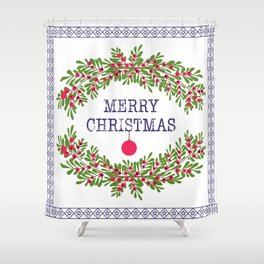 Merry christmas and happy new year white greeting card wreath light white background Shower Curtain