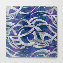 Abstract Maori curve shapes - Silver & Purple Metal Print