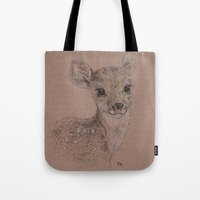 fawn Tote Bags featuring Fawn by Fruzsina Kuhari