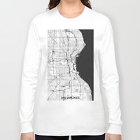 milwaukee Long Sleeve T-shirts featuring Milwaukee Map Gray by City Art Posters