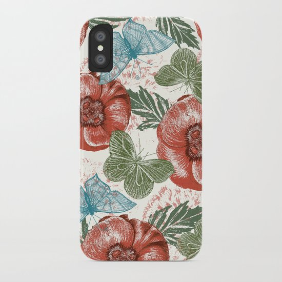 Poppies and Butterflies Pattern iPhone Case