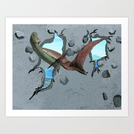 Here Come the Dinosaurs Art Print