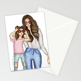 Mother Daughter brunettes Stationery Cards