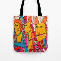 rabbits Tote Bags featuring - rabbits - by Magdalla Del Fresto