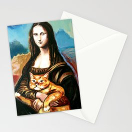 woman with a cat Stationery Cards