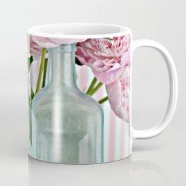 Peonies Shabby Chic Cottage Pink Aqua Peony Bottles Art Print Home Decor Coffee Mug