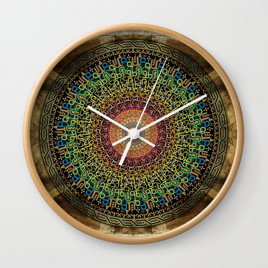 Mandala Armenian Alphabet Wall Clock by Bedros Awak
