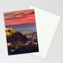The Alhambra Palace, Cathedral and and Granada at sunset. Winter. Stationery Cards