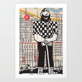 Paul Bunyan statue, North Portland, You Are Here, Portland. Art Print