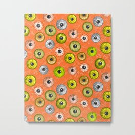 Ditsy Eyes (orange, yellow, grey, green) Metal Print