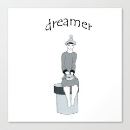 a girl sits and dreams Canvas Print