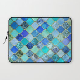 Cobalt Blue, Aqua & Gold Decorative Moroccan Tile Pattern Laptop Sleeve