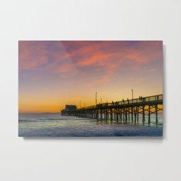 Newport Pier Afterglow Metal Print