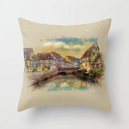 panorama city of Colmar France Throw Pillow