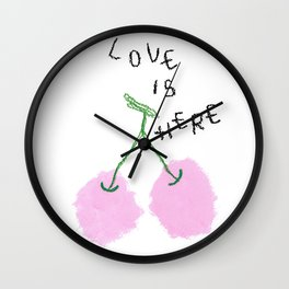 Love Is Here cherry fruit illustration food drawing kitchen love wedding couple marriage gift Wall Clock