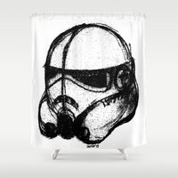 stormtrooper Shower Curtains featuring stormtrooper by chicco montanari