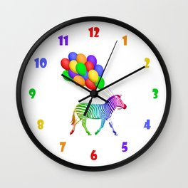 Rainbow Striped Zebra with Balloons Wall Clock